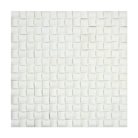 Thassos White Marble 3D Small Bread Mosaic Tile Polished - American Tile Depot