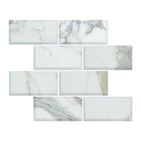 3 X 6 Calacatta Gold Marble Honed & Deep-Beveled Field Tile - American Tile Depot - Shower, Backsplash, Bathroom, Kitchen, Deck & Patio, Decorative, Floor, Wall, Ceiling, Powder Room, Indoor, Outdoor, Commercial, Residential, Interior, Exterior