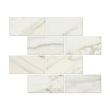 3 X 6 Calacatta Gold Marble Polished Subway Brick Field Tile - American Tile Depot - Commercial and Residential (Interior & Exterior), Indoor, Outdoor, Shower, Backsplash, Bathroom, Kitchen, Deck & Patio, Decorative, Floor, Wall, Ceiling, Powder Room - 1