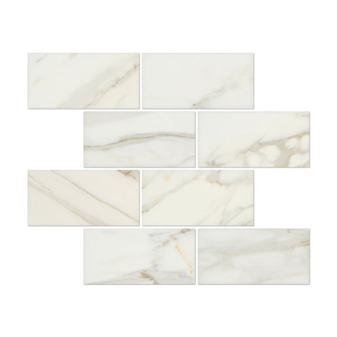 3 X 6 Calacatta Gold Marble Polished Subway Brick Field Tile - American Tile Depot - Shower, Backsplash, Bathroom, Kitchen, Deck & Patio, Decorative, Floor, Wall, Ceiling, Powder Room, Indoor, Outdoor, Commercial, Residential, Interior, Exterior