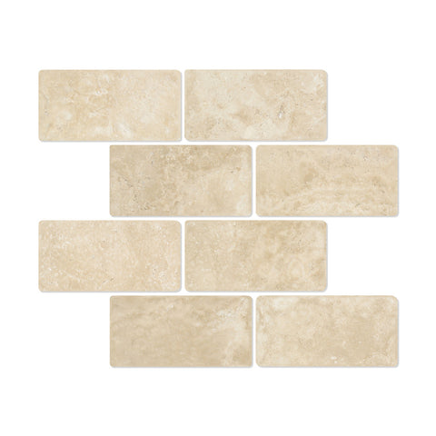 3 X 6 Durango Cream Travertine Tumbled Subway Brick Field Tile - American Tile Depot - Shower, Backsplash, Bathroom, Kitchen, Deck & Patio, Decorative, Floor, Wall, Ceiling, Powder Room, Indoor, Outdoor, Commercial, Residential, Interior, Exterior