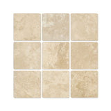 4 X 4 Durango Cream Travertine Field Tile Tumbled american-tile-depot
