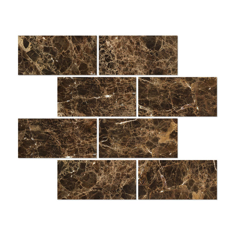 6 X 12 Emperador Dark Marble Polished Subway Brick Field Tile - American Tile Depot - Commercial and Residential (Interior & Exterior), Indoor, Outdoor, Shower, Backsplash, Bathroom, Kitchen, Deck & Patio, Decorative, Floor, Wall, Ceiling, Powder Room - 1