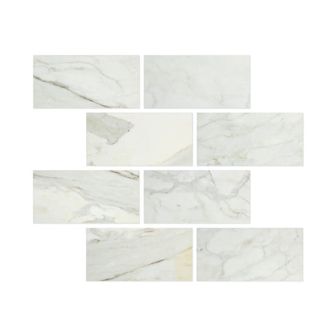 6 X 12 Calacatta Gold Marble Polished Subway Brick Field Tile - American Tile Depot - Commercial and Residential (Interior & Exterior), Indoor, Outdoor, Shower, Backsplash, Bathroom, Kitchen, Deck & Patio, Decorative, Floor, Wall, Ceiling, Powder Room - 1