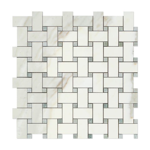 Calacatta Gold Marble Basketweave Mosaic Tile Polished w/ Ming-Green Dots- American Tile Depot