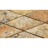 3 X 6 Scabos Travertine Diamond / Rhomboid Polished & Beveled Mosaic Tile - American Tile Depot - Shower, Backsplash, Bathroom, Kitchen, Deck & Patio, Decorative, Floor, Wall, Ceiling, Powder Room, Indoor, Outdoor, Commercial, Residential, Interior, Exterior