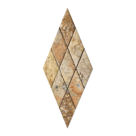 3 X 6 Scabos Travertine Diamond / Rhomboid Honed & Beveled Mosaic Tile - American Tile Depot - Shower, Backsplash, Bathroom, Kitchen, Deck & Patio, Decorative, Floor, Wall, Ceiling, Powder Room, Indoor, Outdoor, Commercial, Residential, Interior, Exterior