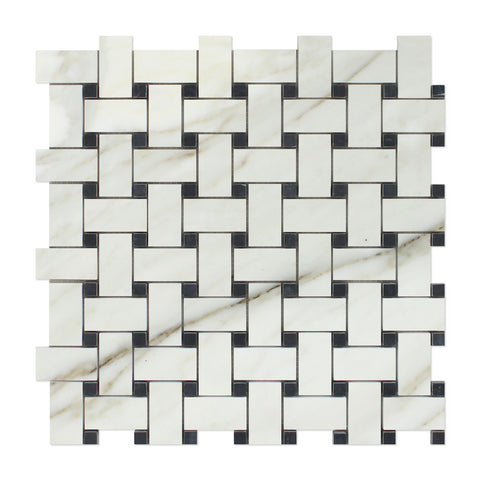 Calacatta Gold Marble Basketweave Mosaic Tile Polished w/ Black Dots- American Tile Depot