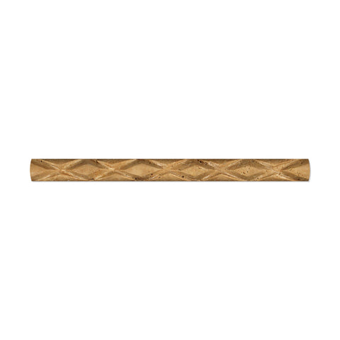 Noce Travertine 1 X 12 Diamond Rope Liner Honed- American Tile Depot