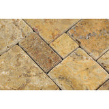 Scabos Travertine 4-Pieced OPUS Mini-Pattern Mosaic Tile Tumbled- American Tile Depot