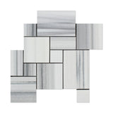 Mink Marmara Equator Marble 4-Pieced OPUS Mini-Pattern Mosaic Tile Polished - American Tile Depot