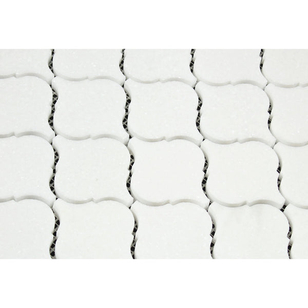 Thassos White Marble Lantern Arabesque Mosaic Tile Polished