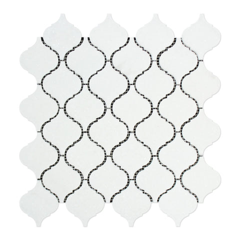 Thassos White Marble Honed Lantern Arabesque Mosaic Tile - American Tile Depot - Commercial and Residential (Interior & Exterior), Indoor, Outdoor, Shower, Backsplash, Bathroom, Kitchen, Deck & Patio, Decorative, Floor, Wall, Ceiling, Powder Room - 1