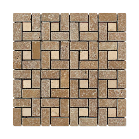 Noce Travertine Pinwheel Mosaic Tile Tumbled-Noce Dots- American Tile Depot
