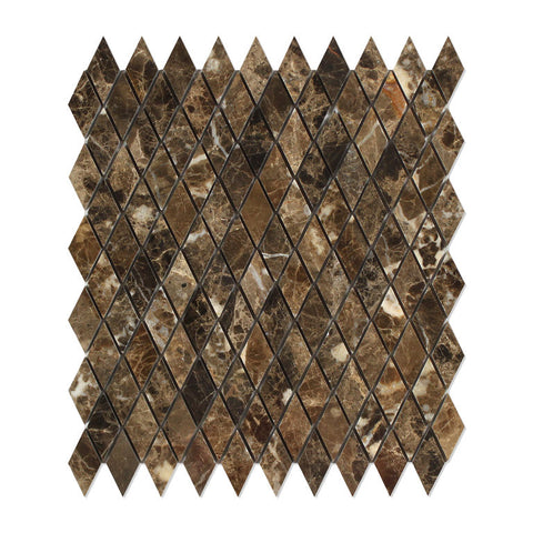 Emperador Dark Marble 1 Diamond Mosaic Tile Polished