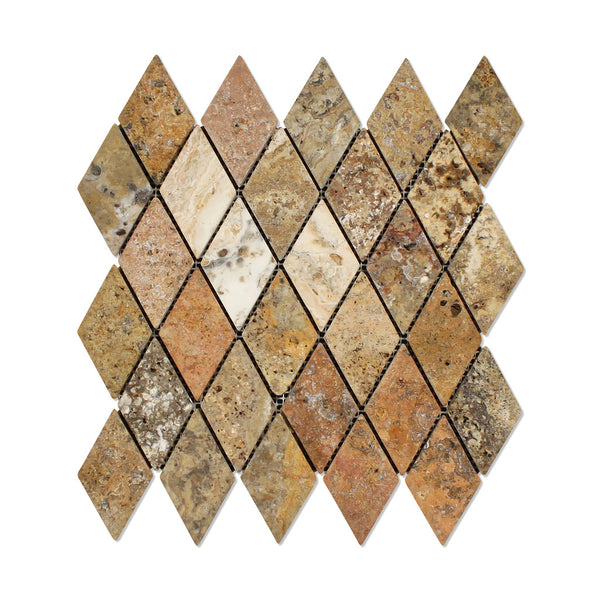 Scabos Travertine 2 X 4 Diamond Mosaic Tile Tumbled