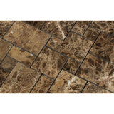 Emperador Dark Marble Polished Mini Versailles Mosaic Tile - American Tile Depot - Commercial and Residential (Interior & Exterior), Indoor, Outdoor, Shower, Backsplash, Bathroom, Kitchen, Deck & Patio, Decorative, Floor, Wall, Ceiling, Powder Room - 2
