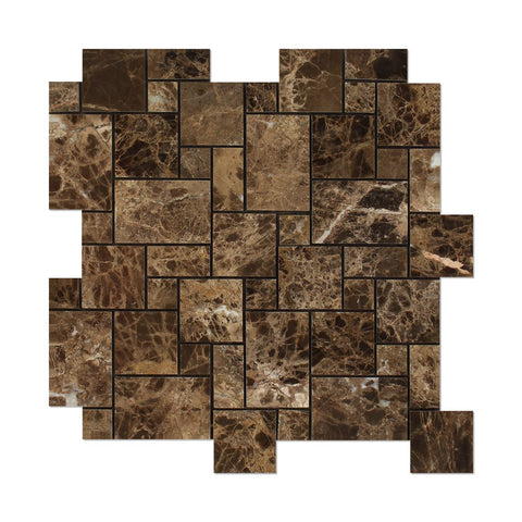 Emperador Dark Marble Polished Mini Versailles Mosaic Tile - American Tile Depot - Commercial and Residential (Interior & Exterior), Indoor, Outdoor, Shower, Backsplash, Bathroom, Kitchen, Deck & Patio, Decorative, Floor, Wall, Ceiling, Powder Room - 1
