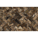Emperador Dark Marble Polished Mini Herringbone Mosaic Tile - American Tile Depot - Commercial and Residential (Interior & Exterior), Indoor, Outdoor, Shower, Backsplash, Bathroom, Kitchen, Deck & Patio, Decorative, Floor, Wall, Ceiling, Powder Room - 2