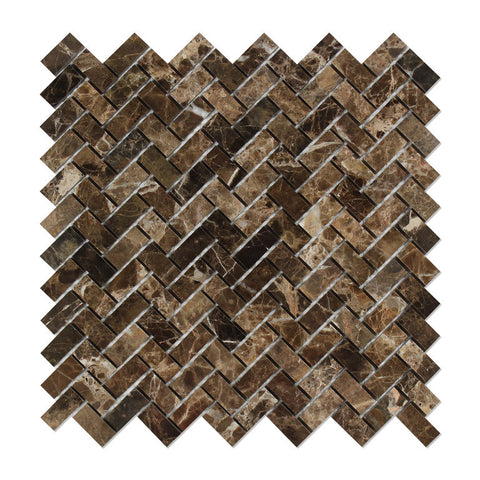 Emperador Dark Marble Polished Mini Herringbone Mosaic Tile - American Tile Depot - Commercial and Residential (Interior & Exterior), Indoor, Outdoor, Shower, Backsplash, Bathroom, Kitchen, Deck & Patio, Decorative, Floor, Wall, Ceiling, Powder Room - 1