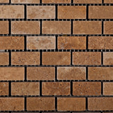 Noce Travertine Mini Brick Mosaic Tile Tumbled- American Tile Depot