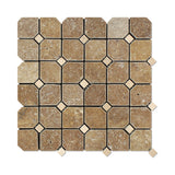 Noce Travertine Octagon Mosaic Tile Tumbled-Noce Dots- American Tile Depot