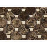 Emperador Dark Marble Polished Octagon Mosaic Tile w/ Crema Marfil Dots - American Tile Depot - Commercial and Residential (Interior & Exterior), Indoor, Outdoor, Shower, Backsplash, Bathroom, Kitchen, Deck & Patio, Decorative, Floor, Wall, Ceiling, Powder Room - 2