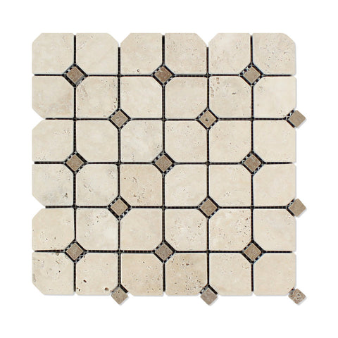 Ivory Travertine Tumbled Octagon Mosaic Tile w/ Noce Dots - American Tile Depot - Commercial and Residential (Interior & Exterior), Indoor, Outdoor, Shower, Backsplash, Bathroom, Kitchen, Deck & Patio, Decorative, Floor, Wall, Ceiling, Powder Room - 1