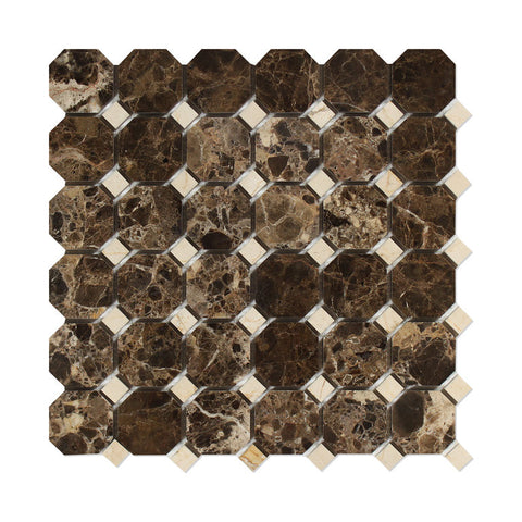 Emperador Dark Marble Polished Octagon Mosaic Tile w/ Crema Marfil Dots - American Tile Depot - Commercial and Residential (Interior & Exterior), Indoor, Outdoor, Shower, Backsplash, Bathroom, Kitchen, Deck & Patio, Decorative, Floor, Wall, Ceiling, Powder Room - 1