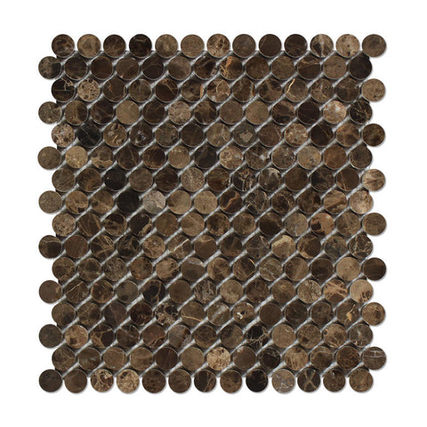 Emperador Dark Marble Polished Penny Round Mosaic Tile - American Tile Depot - Commercial and Residential (Interior & Exterior), Indoor, Outdoor, Shower, Backsplash, Bathroom, Kitchen, Deck & Patio, Decorative, Floor, Wall, Ceiling, Powder Room - 1