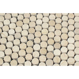 Crema Marfil Marble Polished Penny Round Mosaic Tile - American Tile Depot - Commercial and Residential (Interior & Exterior), Indoor, Outdoor, Shower, Backsplash, Bathroom, Kitchen, Deck & Patio, Decorative, Floor, Wall, Ceiling, Powder Room - 2