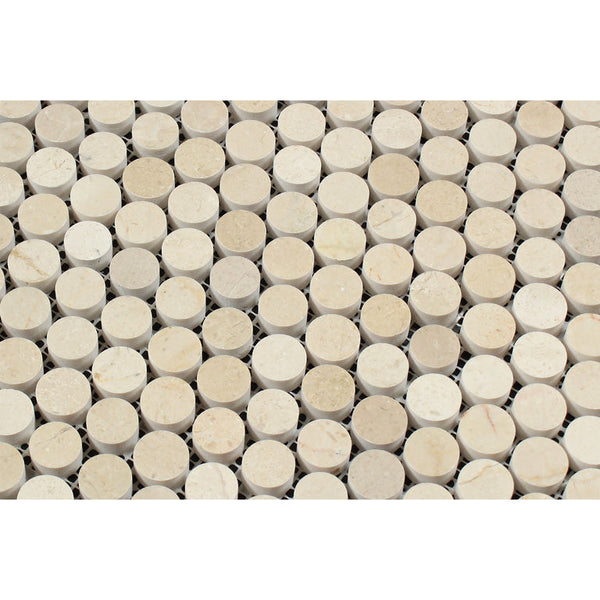 Crema Marfil Marble Penny Round Mosaic Tile Honed