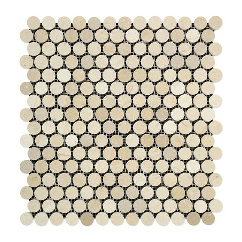 Crema Marfil Marble Polished Penny Round Mosaic Tile - American Tile Depot - Commercial and Residential (Interior & Exterior), Indoor, Outdoor, Shower, Backsplash, Bathroom, Kitchen, Deck & Patio, Decorative, Floor, Wall, Ceiling, Powder Room - 1