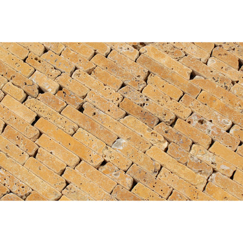 Gold / Yellow Travertine Random Strip Mosaic Tile Tumbled - American Tile Depot