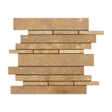 Noce Travertine Random Strip Mosaic Tile Honed- American Tile Depot