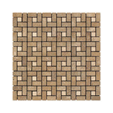 Noce Travertine Mini Pinwheel Mosaic Tile Tumbled-Noce Dots- American Tile Depot