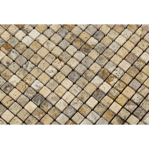 5/8 X 5/8 Philadelphia Travertine Tumbled Mosaic Tile - American Tile Depot