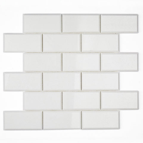 2 X 4 Thassos White Marble Polished & Beveled Brick Mosaic Tile - American Tile Depot - Shower, Backsplash, Bathroom, Kitchen, Deck & Patio, Decorative, Floor, Wall, Ceiling, Powder Room, Indoor, Outdoor, Commercial, Residential, Interior, Exterior