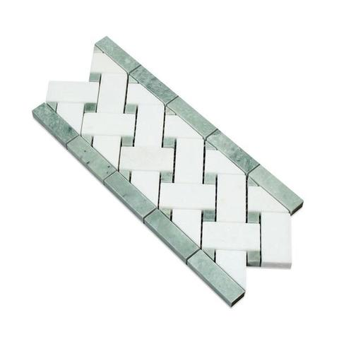 Thassos White Marble Honed Basketweave Border Listello w / Ming Green Dots