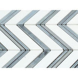 Thassos White Marble Honed Large Chevron Mosaic Tile w / Blue-Gray Dots Strips