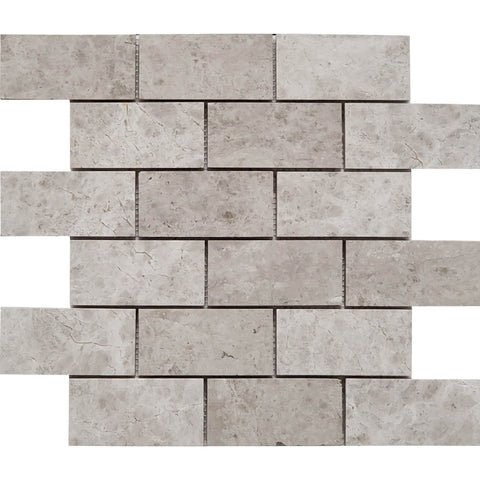 2 X 4 Tundra Gray (Atlantic Gray) Marble Honed Brick Mosaic Tile