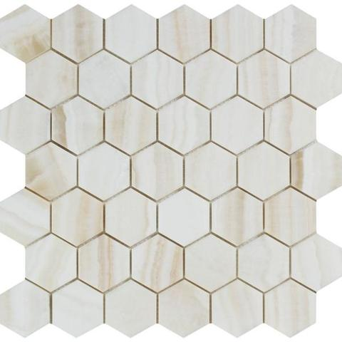 "Premium White Onyx VEIN-CUT Polished 2"" Hexagon Mosaic Tile"