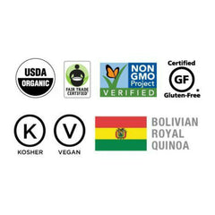 usda certified organic fair trade non-gmo project verified gluten free kosher vegan royal bolivian quinoa