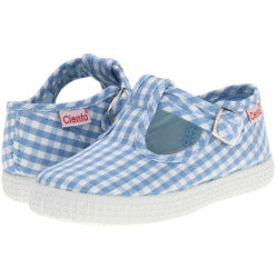 Cienta Kids T-Strap blue gingham