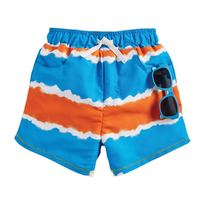 Tie Dye Stripe Swim Trunks with Sunglasses