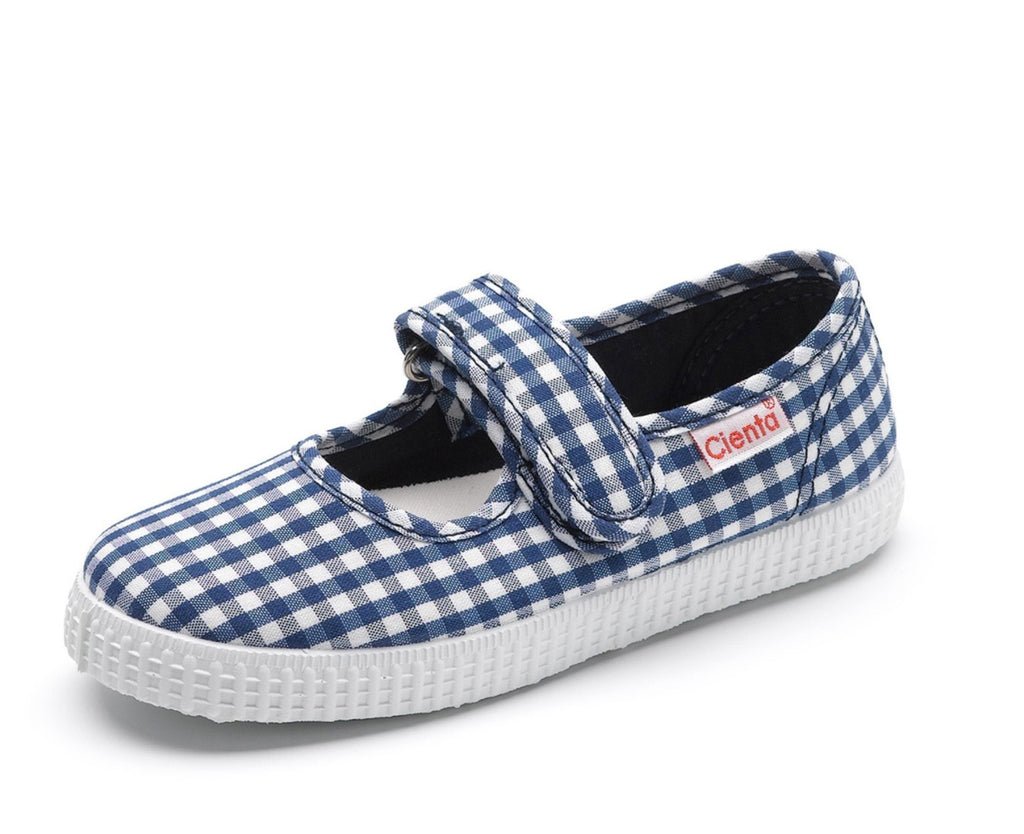 Cienta Kids Mary Jane Navy Gingham