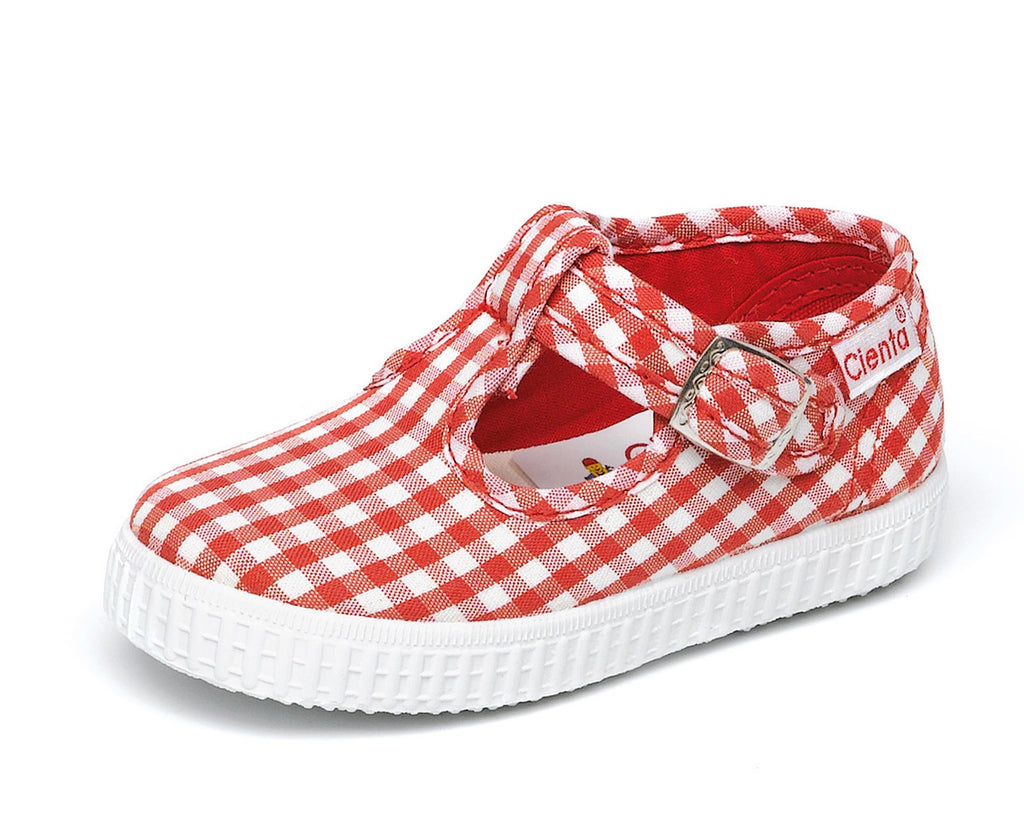 Cienta Kids T-Strap red gingham