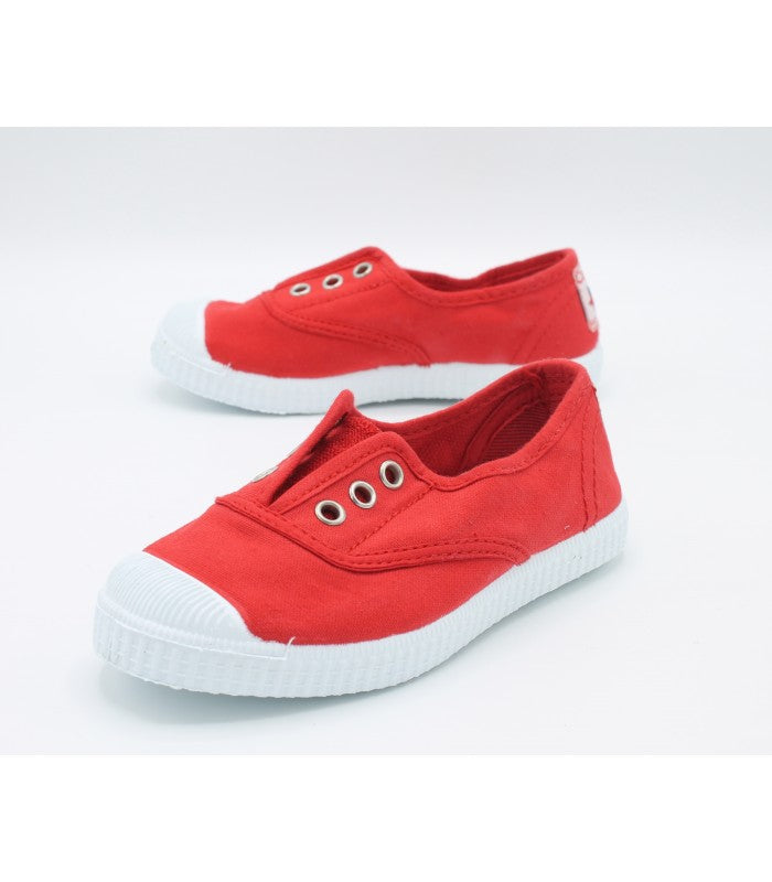 Cienta Red Canvas Laceless Sneaker