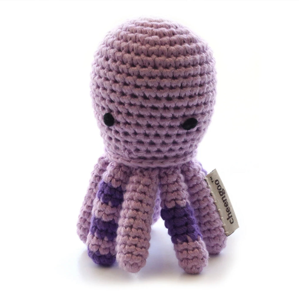 Purple Octopus Crocheted Rattle