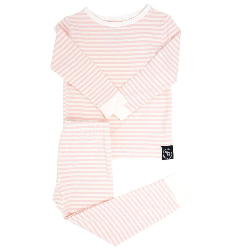 Pink and White Striped Long Sleeve PJ Set